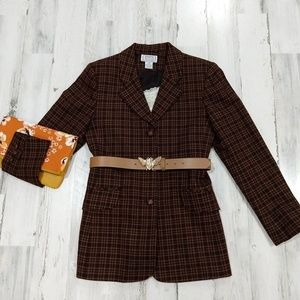 Vintage 90s Fitted Brown Plaid Fall Blazer